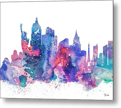 Las Vegas  Metal Print by Watercolor Girl