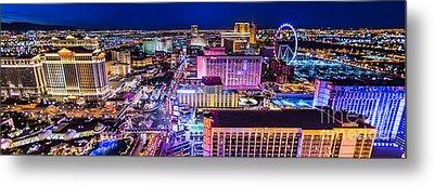 Las Vegas Strip North View 3 To 1 Aspect Ratio Metal Print by Aloha Art