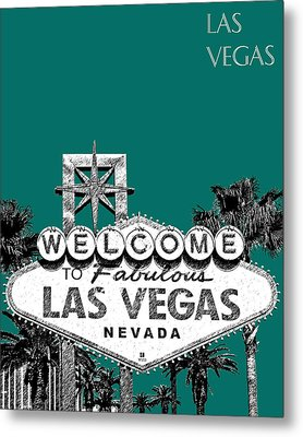 Las Vegas Welcome To Las Vegas - Sea Green Metal Print by DB Artist