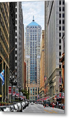 Lasalle Street Chicago - Wall Street Of The Midwest Metal Print by Christine Till