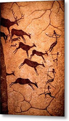 Lascaux Stag Hunting Metal Print by Asok Mukhopadhyay