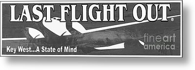 Last Flight Out A Key West State Of Mind - Black And White - Pan Metal Print