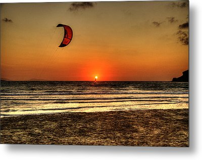 Metal Print featuring the photograph Last Glipses Of Sun At Prasonisi Bay by Julis Simo