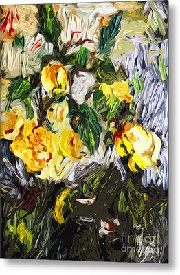 Last Of The Yellow Roses Metal Print by Ginette Callaway