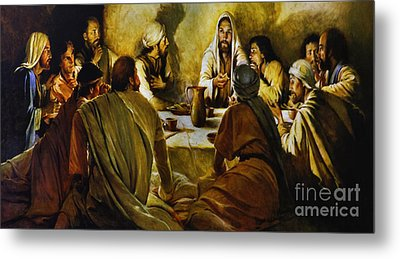 Last Supper Reproduction Metal Print by Al Bourassa