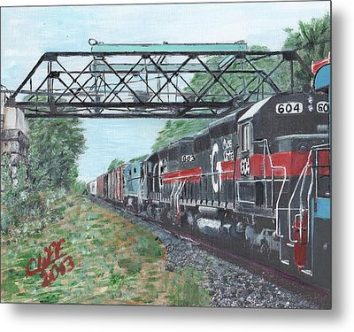 Last Train Under The Bridge Metal Print by Cliff Wilson