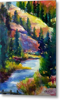 Last View Of The Truckee  Original Sold Metal Print by Therese Fowler-Bailey
