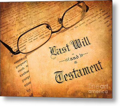 Last Will And Testament Metal Print by Lane Erickson