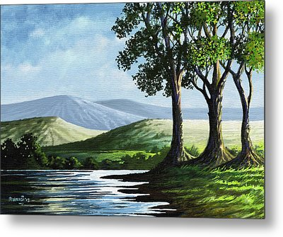 Metal Print featuring the painting Late Afternoon by Anthony Mwangi