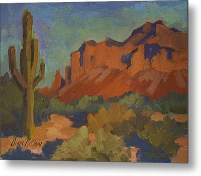 Late Afternoon Light At Superstition Mountain Metal Print by Diane McClary