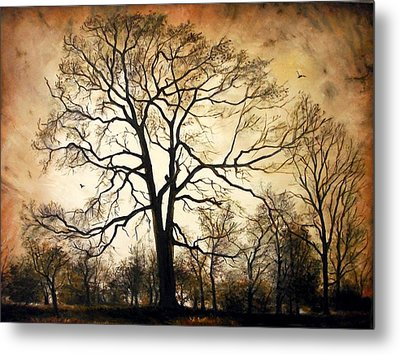 Metal Print featuring the painting Late Autumn by Sorin Apostolescu