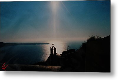 Late Evening Meditation On Santorini Island Greece Metal Print