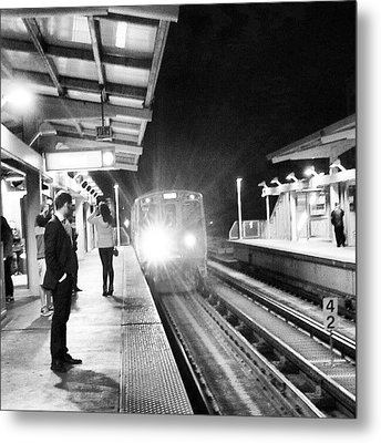 Late Night On The Red Line Metal Print by Jill Tuinier