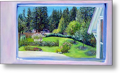 Metal Print featuring the painting Late Spring Yard With Redwoods And Apple Trees by Asha Carolyn Young