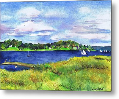 Late Summer Marsh Oyster Bay Metal Print