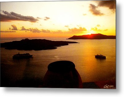 Late Sunset Santorini  Island Greece Metal Print