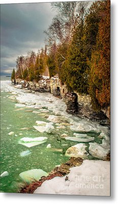 Metal Print featuring the photograph Late Winter At Cave Point by Mark David Zahn