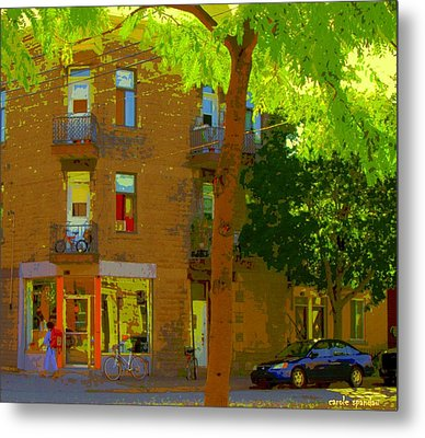L'atelier Boutique Rue Clark And Fairmount Art Of Montreal Street Scene In Summer By Carole Spandau  Metal Print by Carole Spandau