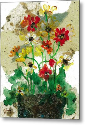 Metal Print featuring the painting Laughing Poppies by Elaine Elliott