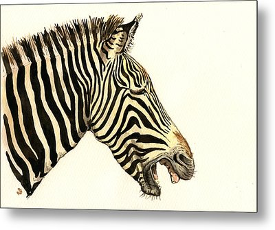 Laughing Zebra Metal Print by Juan  Bosco