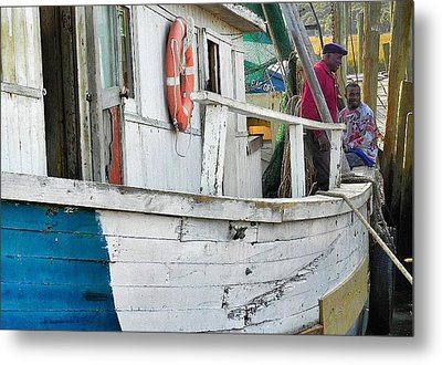 Laughs On A Shrimpboat Metal Print by Patricia Greer