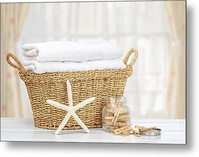 Laundry Basket Metal Print