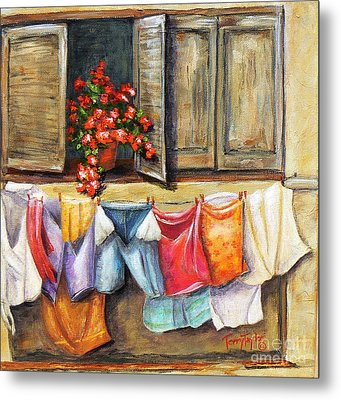 Metal Print featuring the painting Laundry Day In The Villa by Terry Taylor