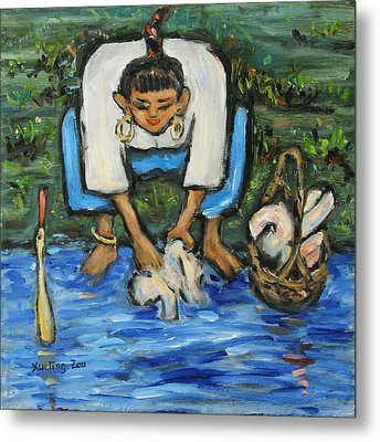 Metal Print featuring the painting Laundry Girl by Xueling Zou