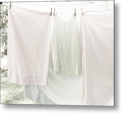 Metal Print featuring the photograph Laundry On The Line In Pink And Green by Brooke T Ryan
