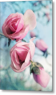 Metal Print featuring the photograph Laura Ashley Inspired Springtime Magnolias On Blue Sky by Lisa Knechtel