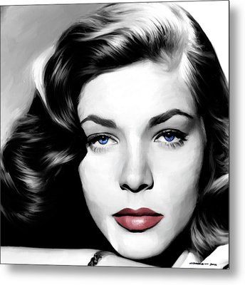 Lauren Bacall Large Size Portrait Metal Print