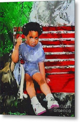 Metal Print featuring the painting Lauren On The Swing by Vannetta Ferguson