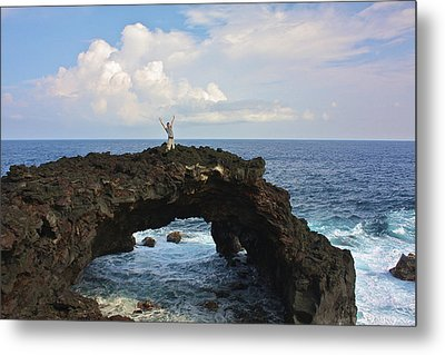 Lava Sea Arch In Hawaii Metal Print by Venetia Featherstone-Witty