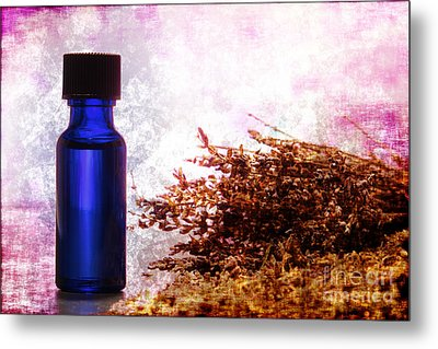 Lavender Essential Oil Bottle Metal Print by Olivier Le Queinec