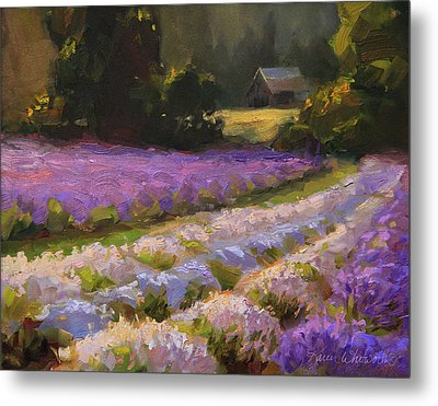 Lavender Farm Landscape Painting - Barn And Field At Sunset Impressionism  Metal Print