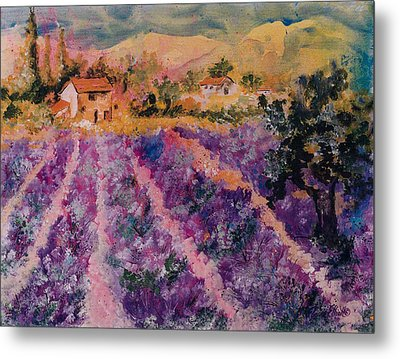 Lavender Fields In Provence Metal Print by Elaine Elliott