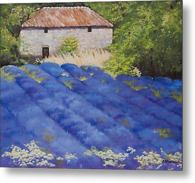 Metal Print featuring the painting Lavender Fields by Rebecca Matthews