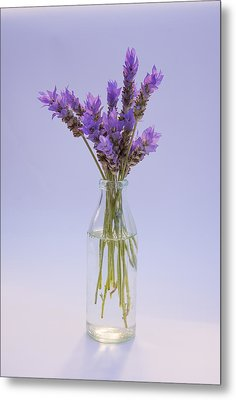 Metal Print featuring the photograph Lavender In Glass Vase by Jocelyn Friis