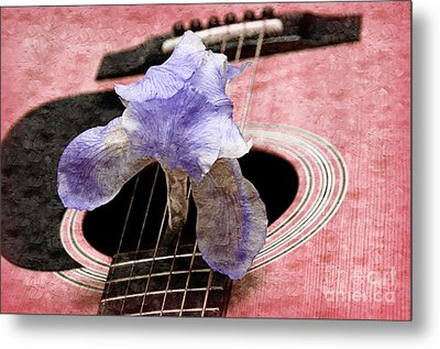 Lavender Iris And Acoustic Guitar - Texture - Music - Musical Instrument - Painterly - Pink  Metal Print by Andee Design