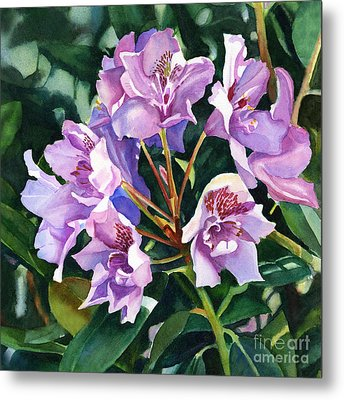 Lavender Rhododendron Square Design Metal Print by Sharon Freeman