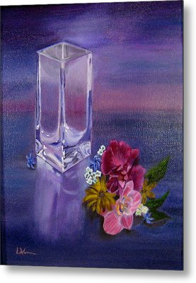 Metal Print featuring the painting Lavender Vase by LaVonne Hand