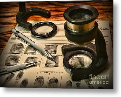 Law Enforcement - Fingerprint Analysis Metal Print by Paul Ward