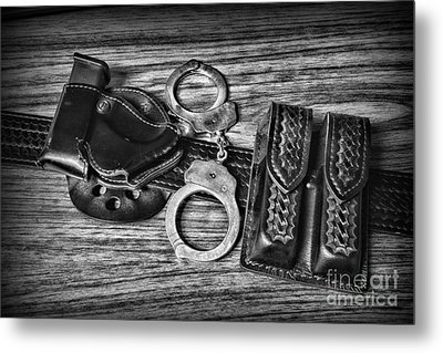 Law Enforcement - Police - Duty Belt In Black And White Metal Print by Paul Ward