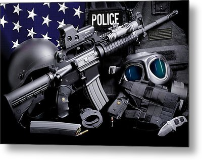 Law Enforcement Tactical Police Metal Print by Gary Yost