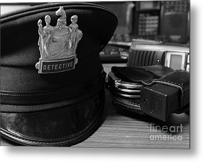 Law Enforcement - The Detective In Black And White Metal Print