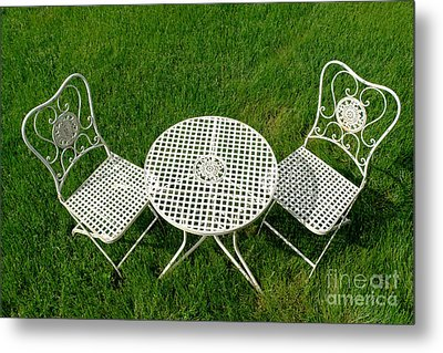 Lawn Furniture Metal Print by Olivier Le Queinec
