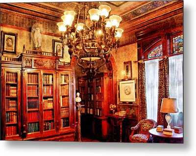 Lawyer - In The Library Metal Print by Mike Savad