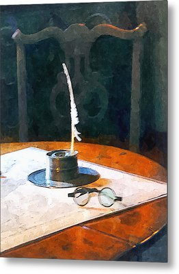 Lawyer - Quill And Spectacles Metal Print by Susan Savad