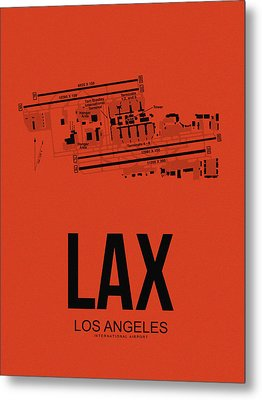 Lax Los Angeles Airport Poster 4 Metal Print by Naxart Studio