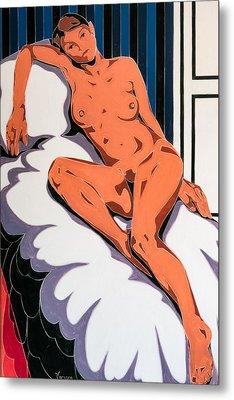 Laying Nude Metal Print by Varvara Stylidou